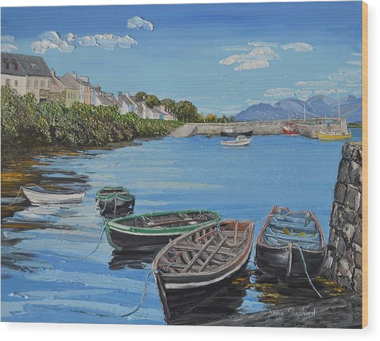 Blue Sky Day Roundstone Connemara Wood Print