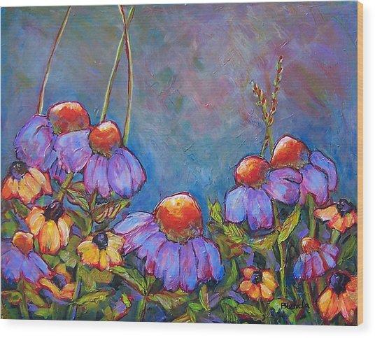Blue Sky Flowers Wood Print by Blenda Studio