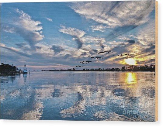 Blue Sky Sunset Wood Print