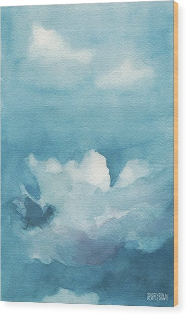 Blue Sky White Clouds Watercolor Painting Wood Print