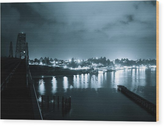Blue Skys And City Lights Wood Print by Sheldon Blackwell