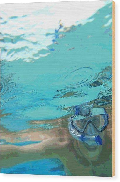 Blue Snorkel Wood Print