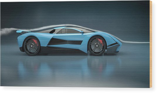 Blue Sports Car In A Wind Tunnel Wood Print by Mevans