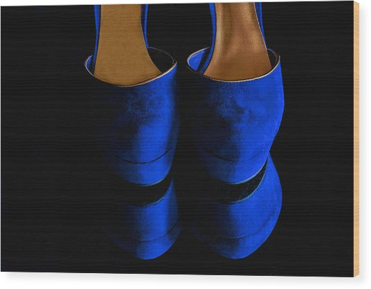 Blue Suede Shoes Wood Print