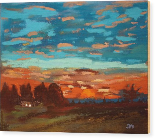 Blue Sunset Pastel Wood Print