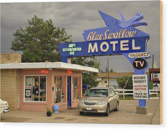 Blue Swallow Motel Wood Print