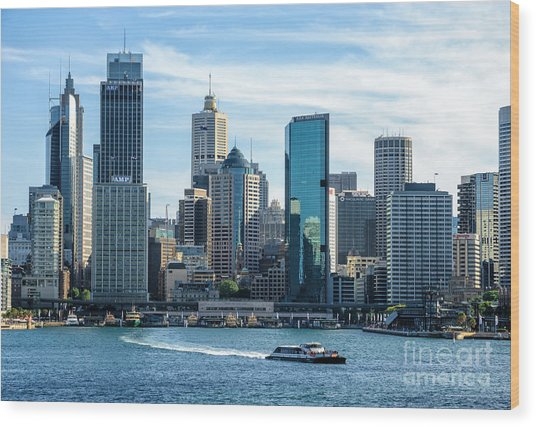 Blue Sydney - Circular Quay And Sydney Harbor With Skyscapers And Ferry Wood Print by David Hill