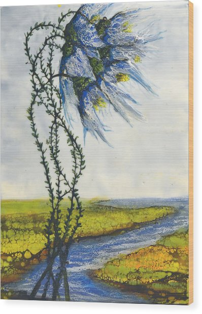Blue Tangle Wood Print