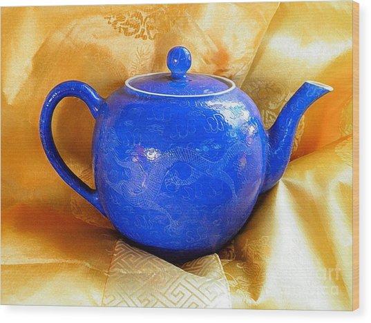Blue Teapot Wood Print