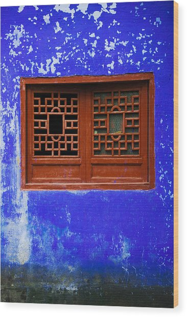 Blue Temple Wall Detail, Mingshan Wood Print