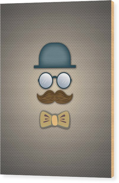 Blue Top Hat Moustache Glasses And Bow Tie Wood Print by Ym Chin