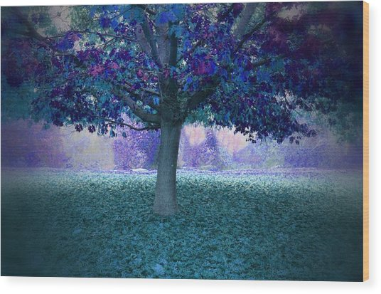 Blue Tree Monet Painting Background Wood Print
