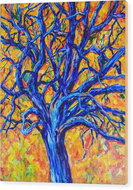 Blue Tree Wood Print