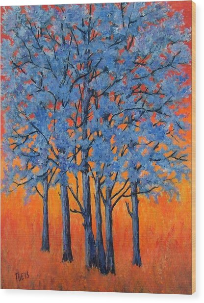 Blue Trees On A Hot Day Wood Print