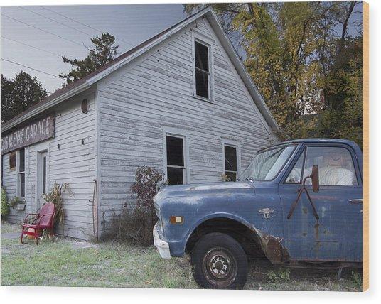 Blue Truck Wood Print by Jim Baker