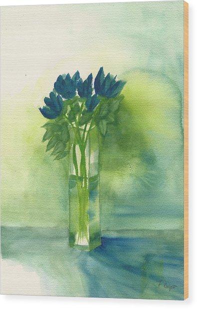 Blue Tulips In Glass Vase Wood Print