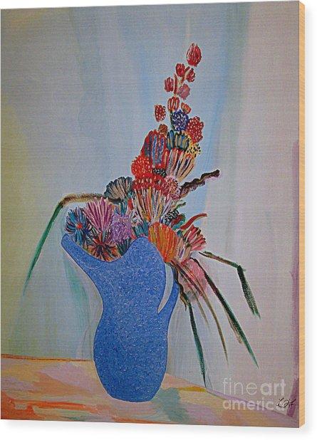 Blue Vase 22 Wood Print