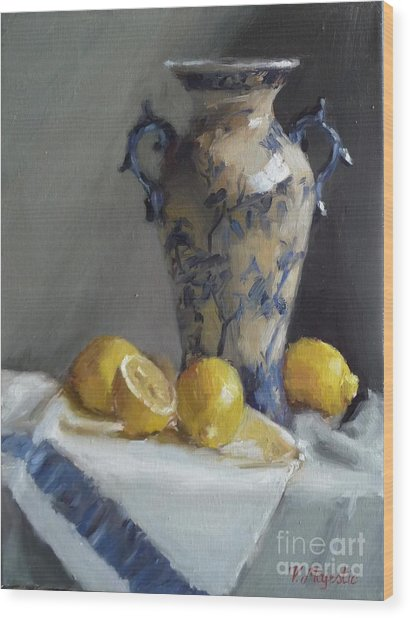 Blue Vase And Lemons Wood Print