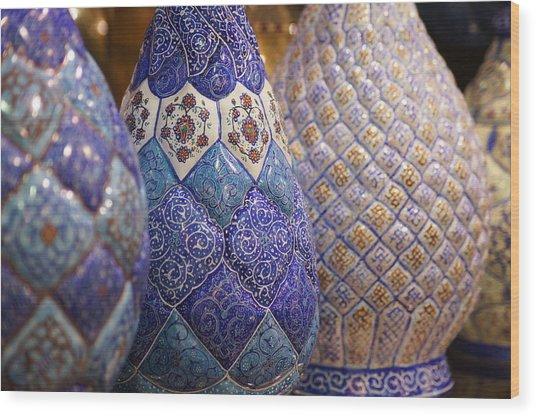 Blue Vases Wood Print
