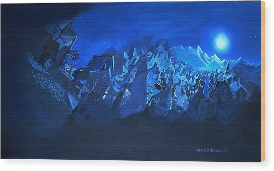 Blue Village Wood Print