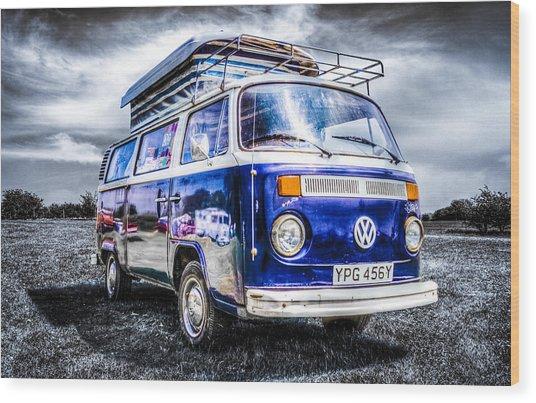 Blue Vw Campervan Wood Print