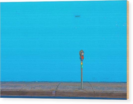 Blue Wall Parking Wood Print