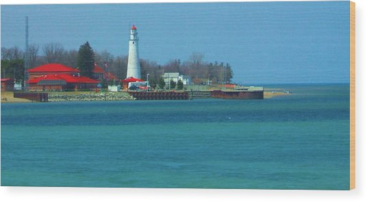 Blue Water Lighthouse Wood Print by Peg Holmes