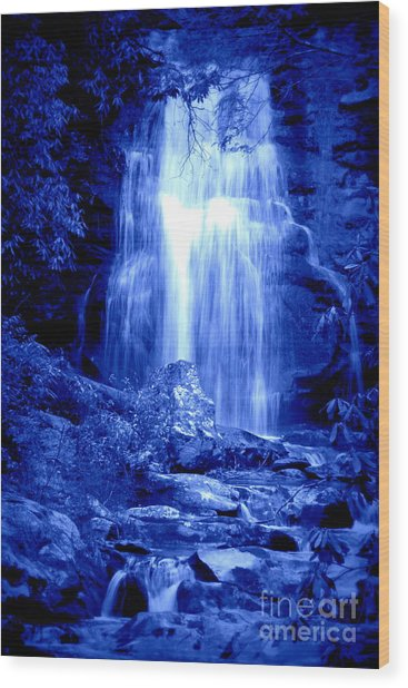 Blue Waterfall Wood Print