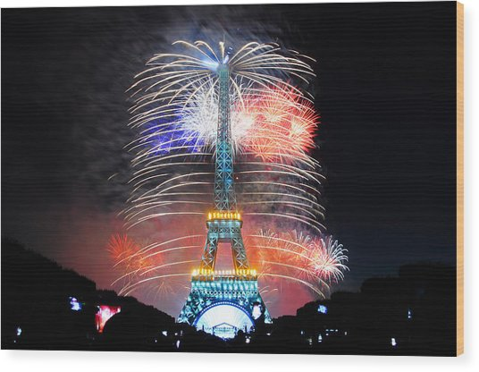 Blue White Red Fireworks Wood Print