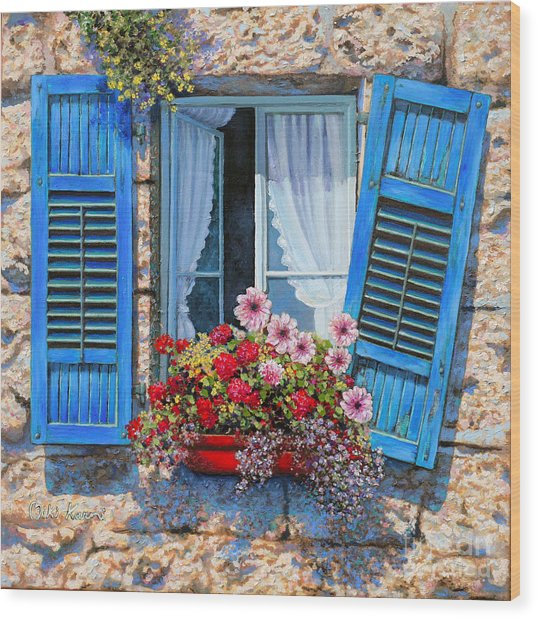 Blue Window Wood Print