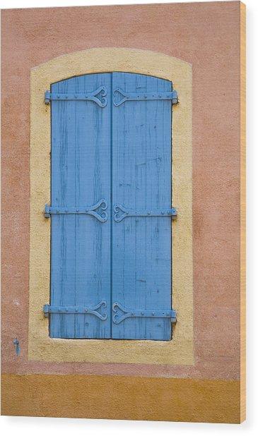 Blue Window Shutters Wood Print