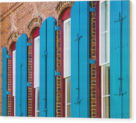 Blue Windows Wood Print