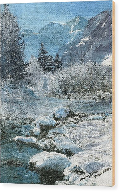 Blue Winter Wood Print