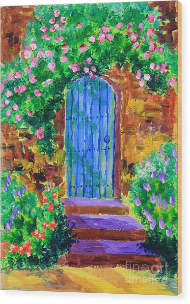 Blue Wooden Door To Secret Rose Garden Wood Print