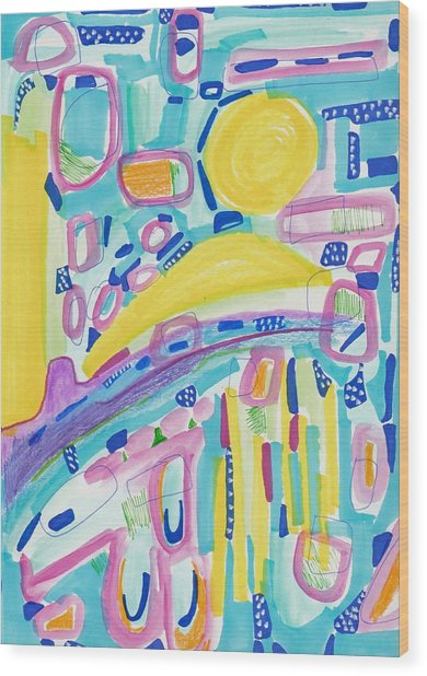 Blue Yellow And Pink Wood Print