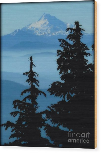 Blue Yonder Mountain Wood Print