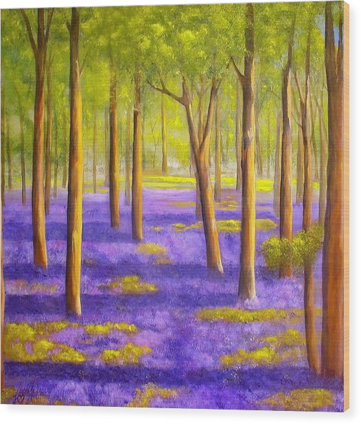 Bluebell Wood Wood Print by Heather Matthews