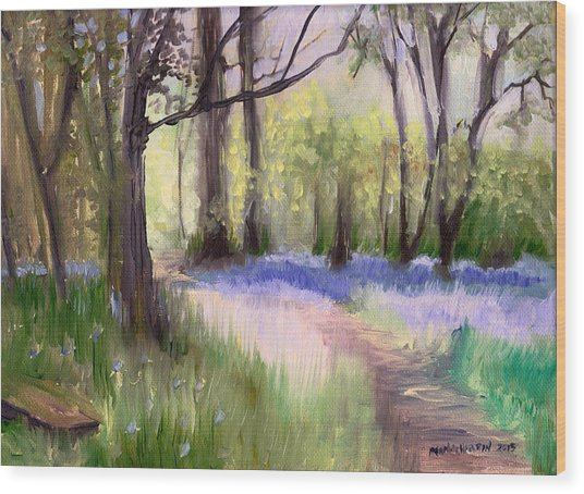 Bluebells At Dusk Wood Print