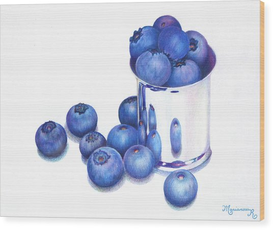 Blueberries And Silver Wood Print