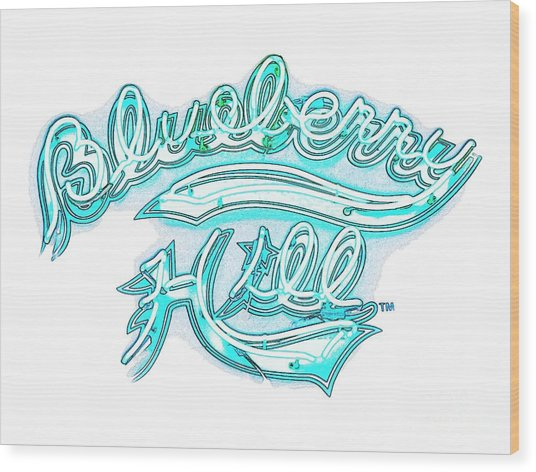 Blueberry Hill Inverted In Neon Blue Wood Print