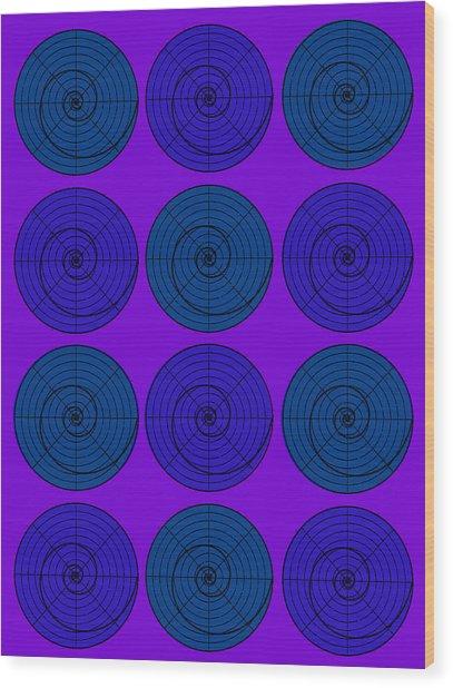 Blueberry Orb Circle Bubble Pop A La After Warhol  Wood Print