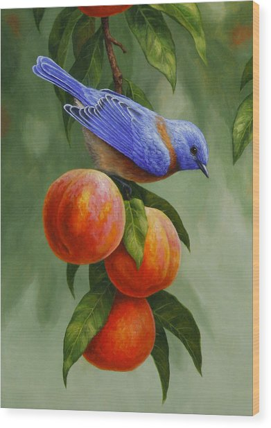 Bluebird And Peaches Greeting Card 1 Wood Print
