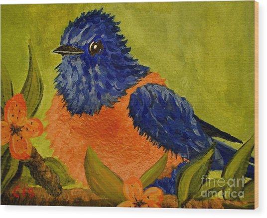 Bluebird Wood Print by Cecilia Stevens