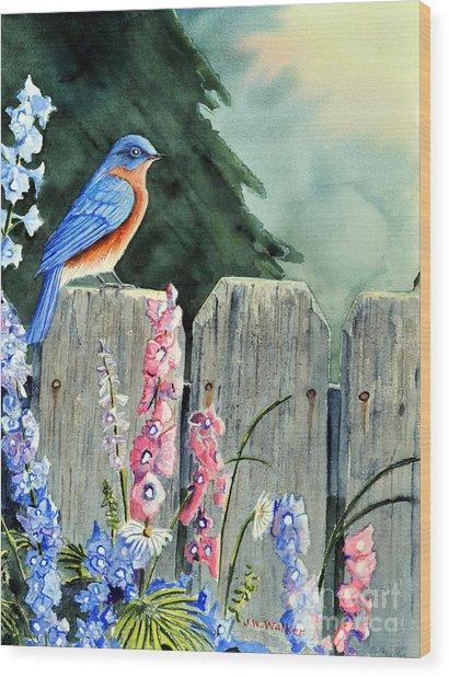 Bluebird Morning Wood Print