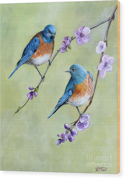 Bluebirds And Blossoms Wood Print