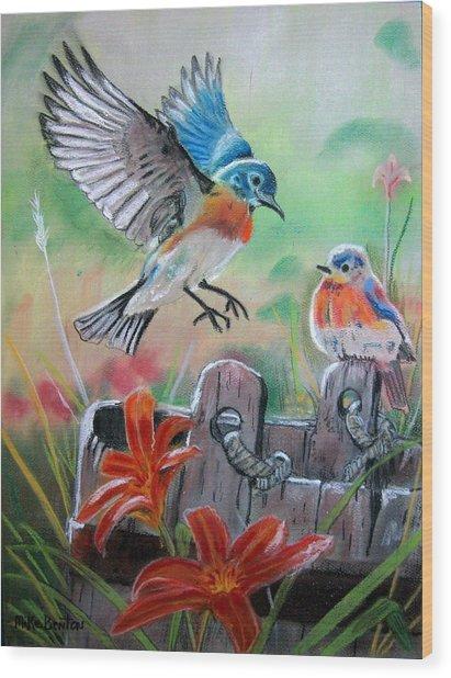Bluebirds Bucket Wood Print