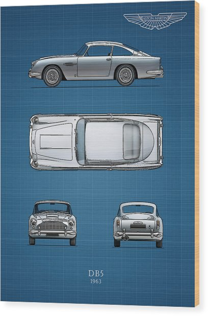 Blueprint Aston Martin Db5 Wood Print