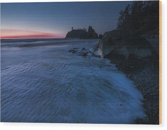 Bluered Wood Print