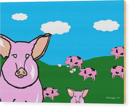 Bluesky Farm Pigs Wood Print