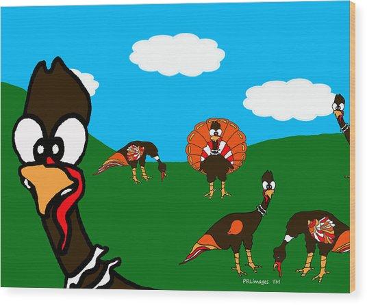 Blueskyfarm Turkeys Wood Print